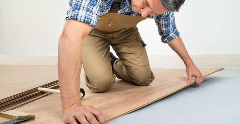 Flooring Professional Installing Wood Floor