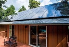 backyard porch with solar panels