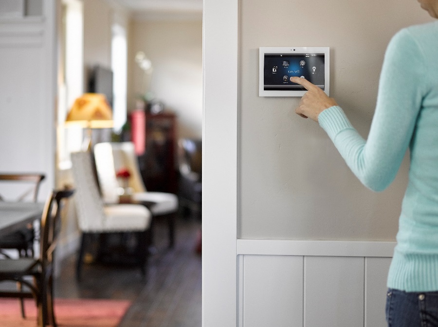 woman using her smart home hub