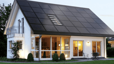 Trendy home with solar roof