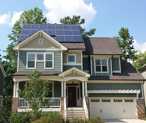 Two-story suburban home with solar panels