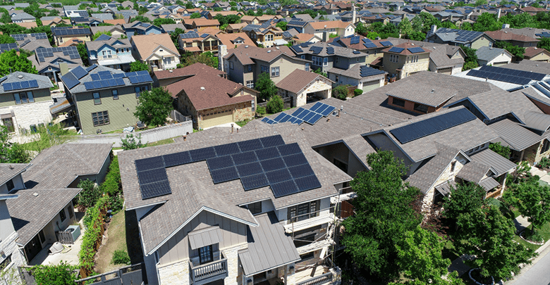 Neighborhood with solar panel homes