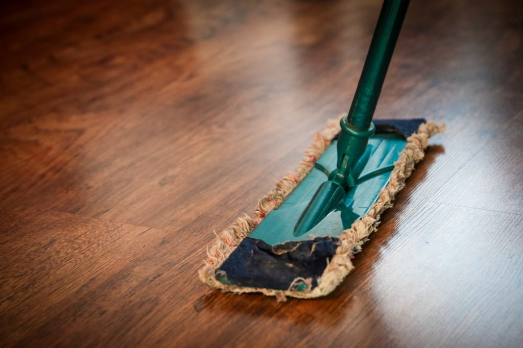 cleaning the hardwood floors