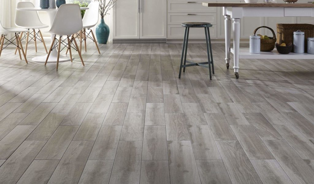Excellent grey hardwood floors made of engineered wood