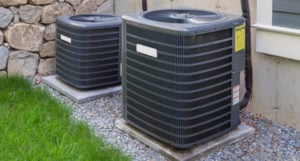 Outdoor HVAC system in need of maintenance
